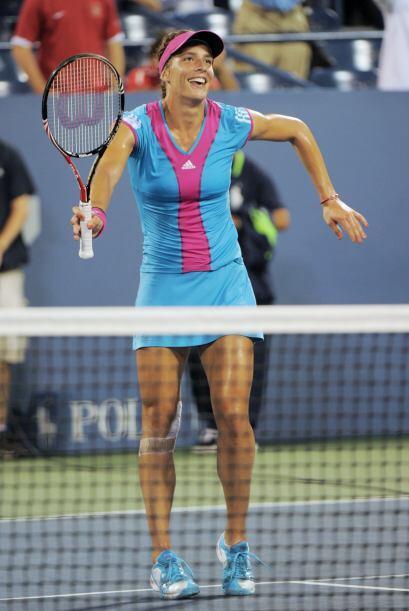 Andrea Petkovic no pudo evitar bailar de alegría tras sellar su boleto a...
