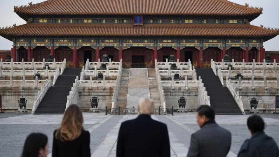 Trump y la primera dama, Melania, visitaron la ciudad prohibida junto co...