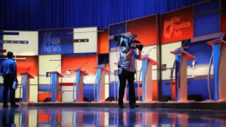 El escenario donde se llevará a cabo el primer debate presidencial de pr...