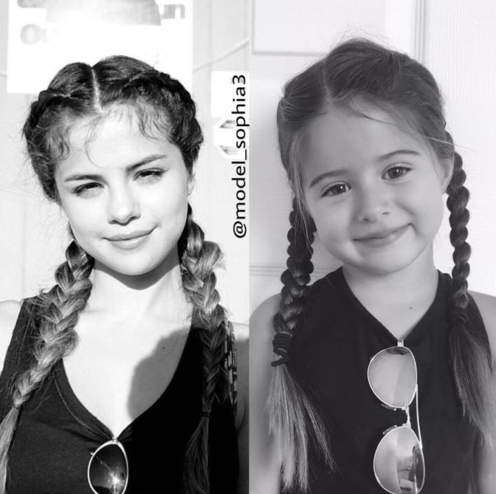 Niña que imita a Selena Gómez