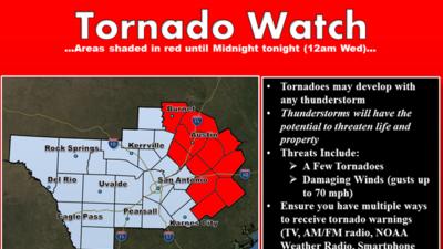 Emiten alerta de tornado en Austin