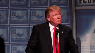 Donald Trump delivering economic policy speech at the Detroit Economic C...