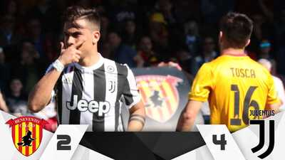 Juventus golea a Benevento con un espectacular Dybala