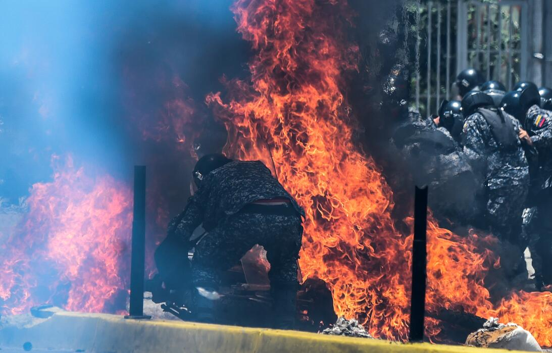 In photos: A fiery explosion on Sunday engulfed Venezuelan National Guar...