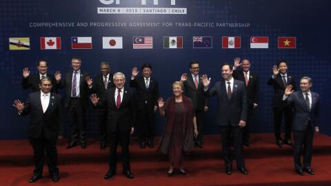 Los representantes de 11 países del tratado comercial Acuerdo Pac...