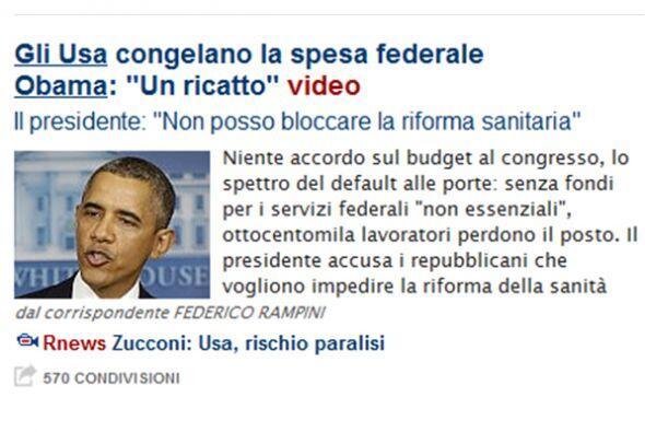 """En Italia, el diario La Repubblica titula su texto: """"La congelación del..."""