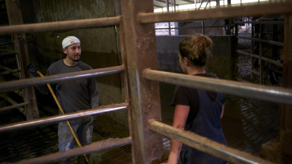 Manuel Estrada, un trabajador agrario de origen mexicano, habla con su j...