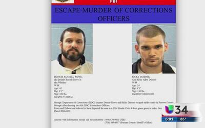 Dos reos de Georgia escapan al momento de ser trasladados a otra prisión