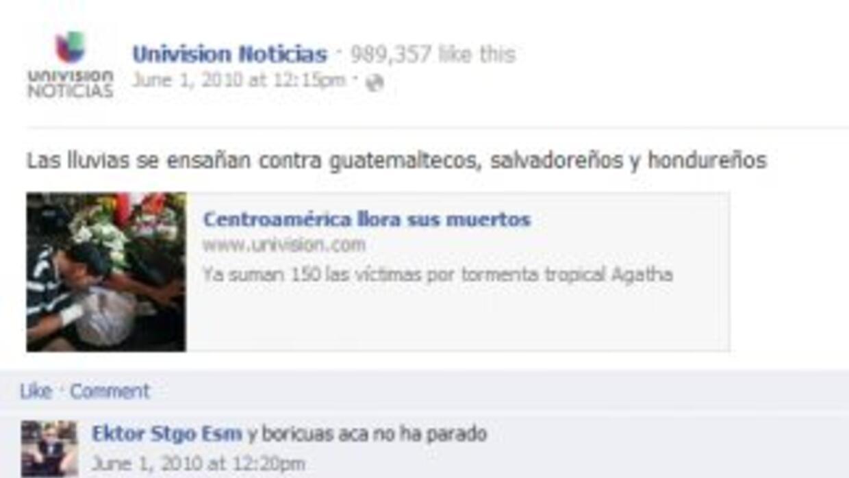 El primer post de Univision Noticias Facebook.