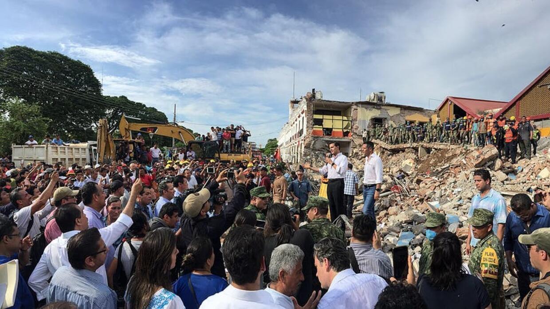 President Enrique Peña Nieto speaking in Oaxaca at an earthquake disaste...
