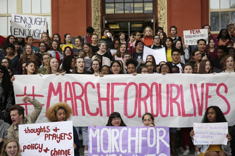 Las Vegas, Nevada. Como parte de la protesta, decenas de estudiantes can...