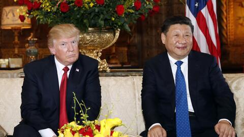 Los presidentes Donald Trump (EEUU) y Xi Jinping (China) en la recepción...