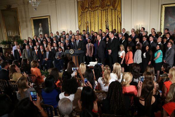 Obama recibió al equipo en la Casa Blanca por tercera vez en cinco años.
