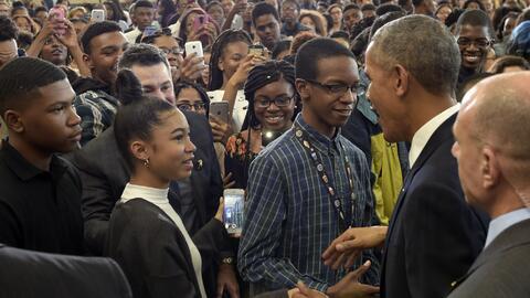 El presidente Obama en un discurso sobre educación en la escuela Secunda...