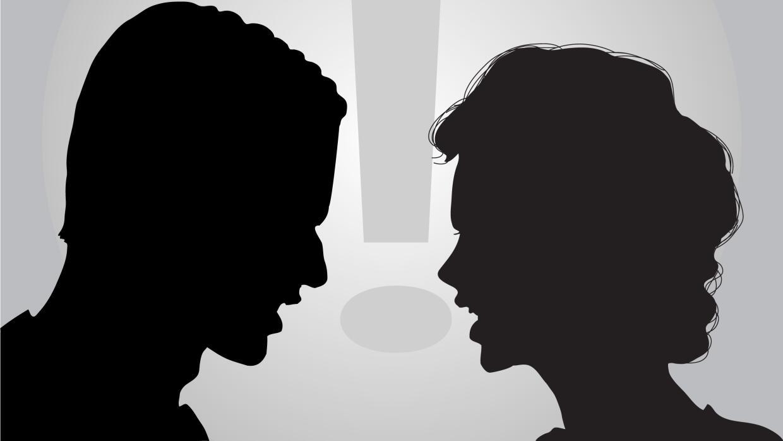 Ilustración pareja peleando
