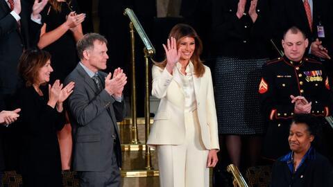 Melania Trump llegó al Congreso sola y antes que el presidente, r...