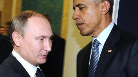 El presidente ruso, Vladimir Putin, y su homólogo estadounidense, Barack...