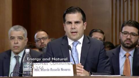 El gobernador Ricardo Rosselló en una audiencia en el Senado de E...