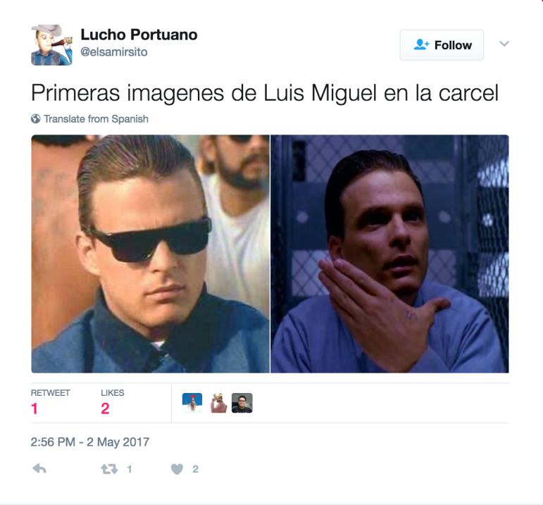 Luis Miguel fue detenido el 2 de mayo de 2017, en Los Ángeles.
