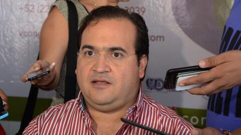 Javier Duarte, en una rueda de prensa durante una gira de trabajo por el...