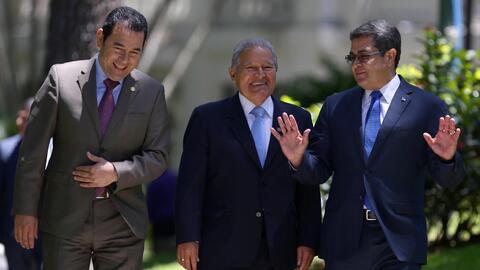 Los presidentes de Guatemala, El Salvador y Honduras: Jimmy Morales, Sal...