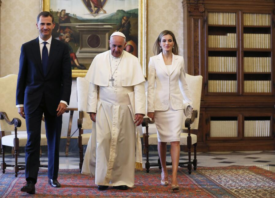 Pope Francis meets King Felipe VI of Spain and and Queen Letizia of Spai...