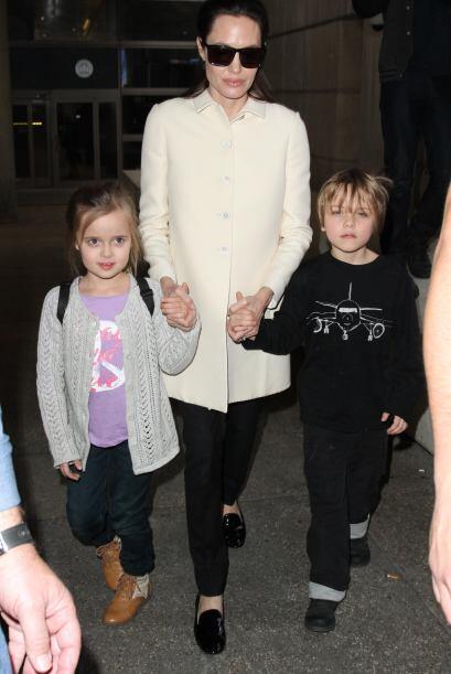 Ahora sí no los acompañó el resto del clan Jolie-Pitt.