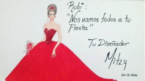 Este es el boceto del vestido que Mitzy le regaló a Rubí Ibarra García y...
