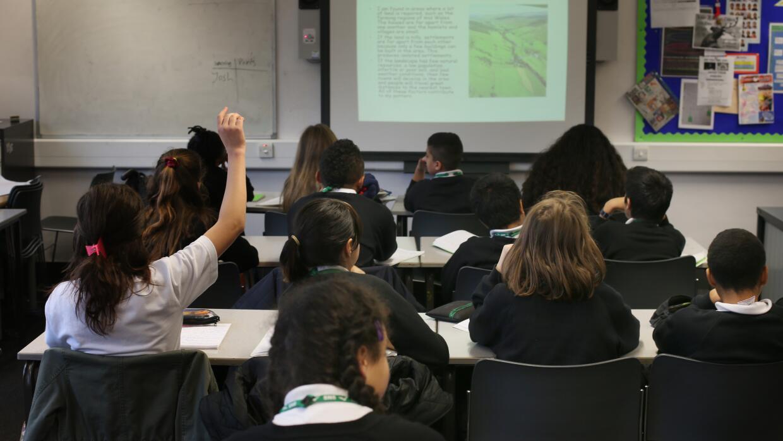 Aula de clases en escuela secundaria de Londres.
