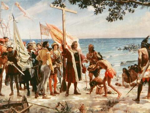 La llegada de Cristóbal Colón a las islas caribeñas...