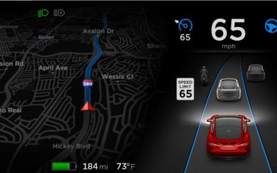 Interface del sistema Autopilot de Tesla en el Model S