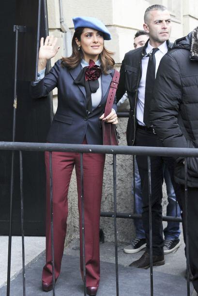 Salma visitó la semana de la moda en Milán.
