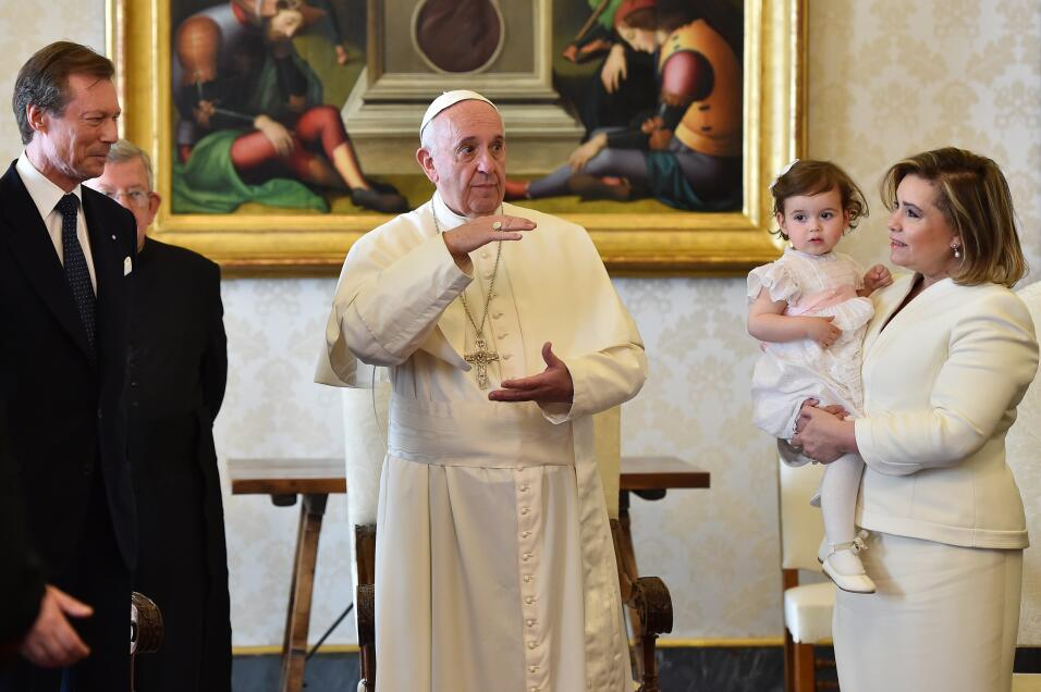 Pope Francis speaks with Luxembourg's Grand Duke Henri (L) and Grand...