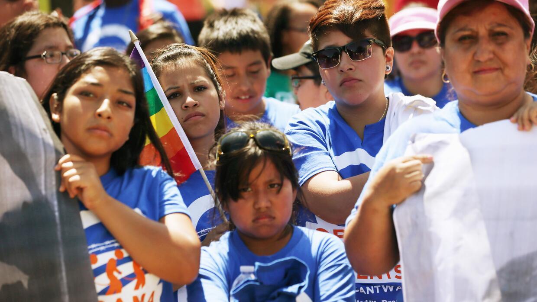 Una manifestación a favor de la ley DREAM, frente a la Casa Blanca, en 2...