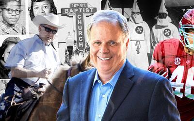 La elección entre Doug Jones (centro) y Roy Moore (en la izquierd...