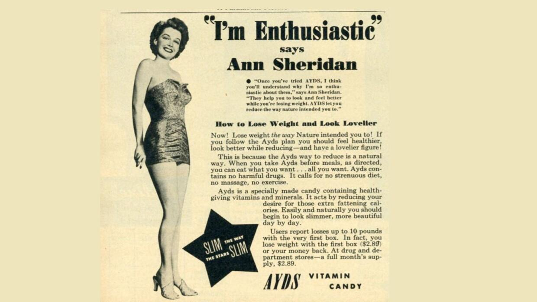 Un anuncio de 1950 de «vitamina candy».
