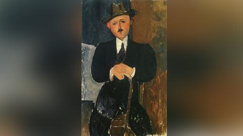 """La obra desaparecida """"Hombre Sentado con un Bastón"""" del..."""