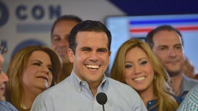 Ricardo Rosselló, gobernador electo de Puerto Rico, se dirige a s...