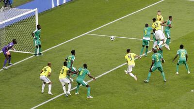 Colombia selló su pase a octavos de final con este potente cabezazo de Yerry Mina ante Senegal