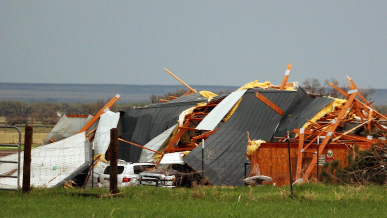 Daños causado por la tormenta en Wiggins, Colorado