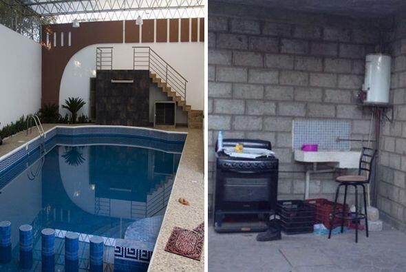 La foto izquierda muestra los lujos bajo los cuales vivía el líder Templ...