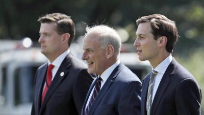 Desde la izquierda, el ex secretario de gabinete de la Casa Blanca, Rob...