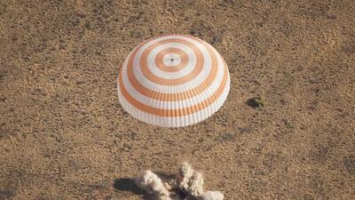La cápsula Soyuz que trajó al astronauta hispano Joe Acabá desde la Esta...