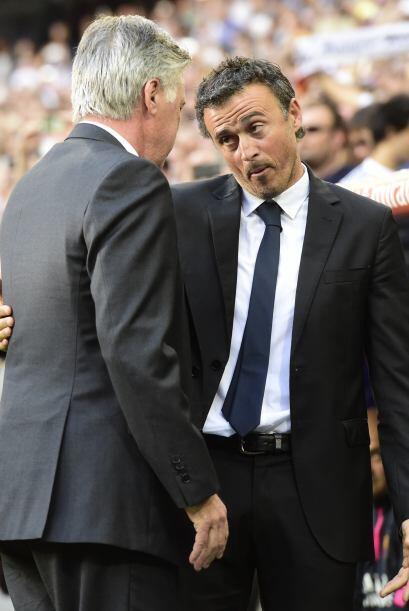 Los técnicos se saludan al final, Luis Enrique reconoció la superioridad...