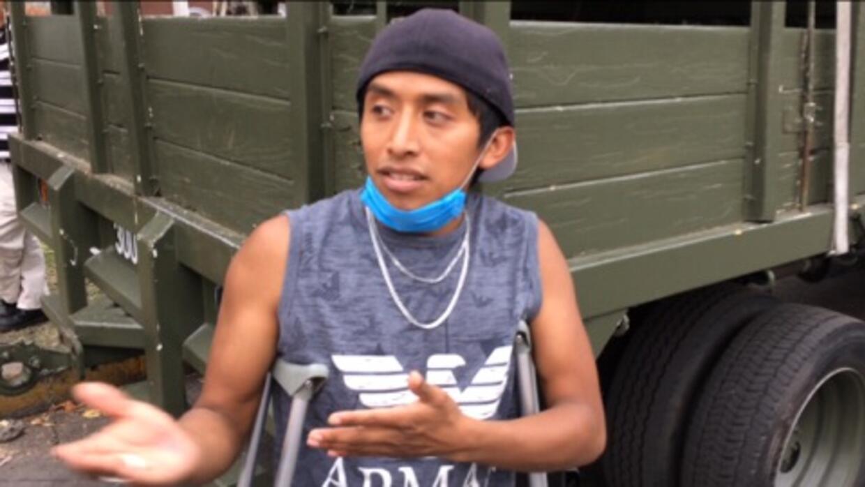Miguel Ángel también es voluntario, pese a que perdió su pierna derecha...