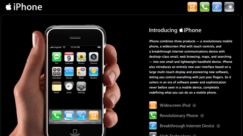 Una imagen del primer sitio promocional del iPhone en 2007 muestra la of...