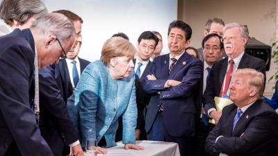 Esta foto resume la incómoda cumbre del G-7  en Canadá