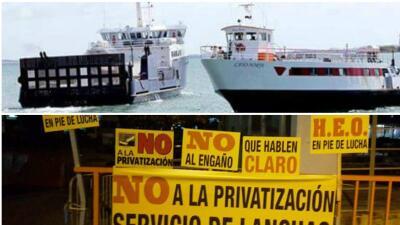 Protestan por supuesta privatización de los servicios de transporte marí...