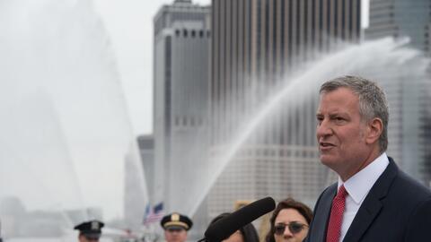 El alcalde de la ciudad de Nueva York, Bill de Blasio, en un evento el 1...