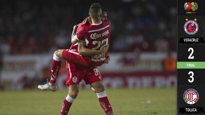 Toluca sorprendió de visita a Veracruz con un emocionante 3-2